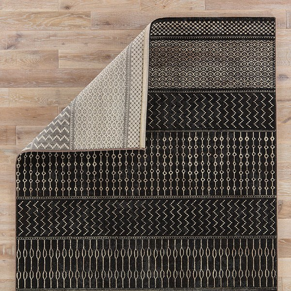 Black, Tan (DSH-06) Striped Area Rug