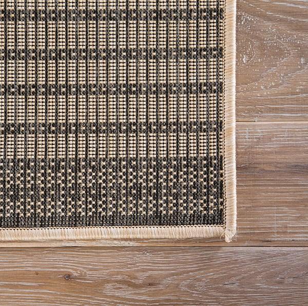Black, Beige (KNX-06) Outdoor / Indoor Area Rug