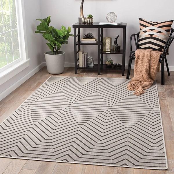 Gray, Black (KNX-09) Outdoor / Indoor Area Rug