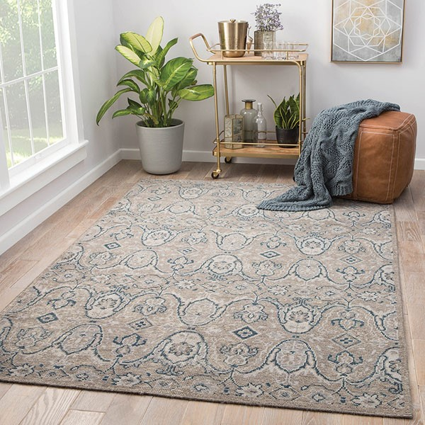 Gray, Navy (REL-06) Traditional / Oriental Area Rug