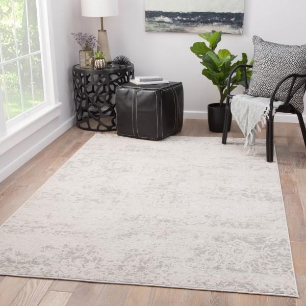 Gray, White (CIQ-10) Vintage / Overdyed Area Rug