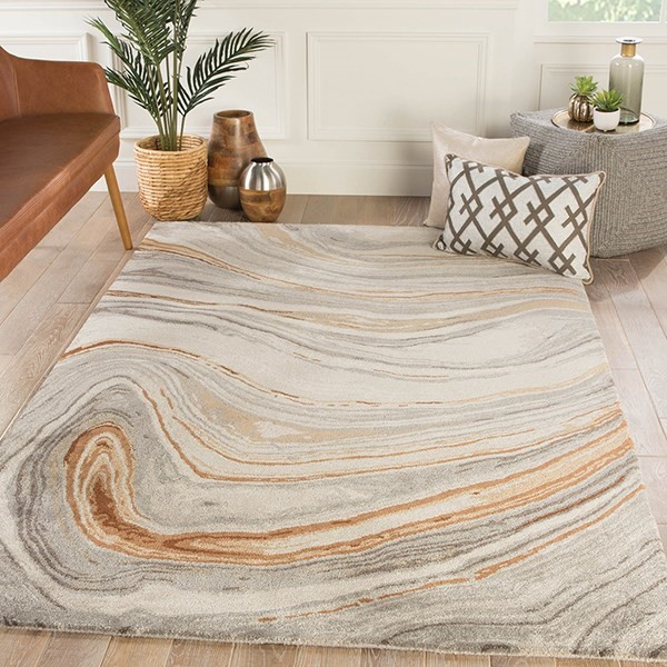Copper, Gray (GES-21) Abstract Area Rug