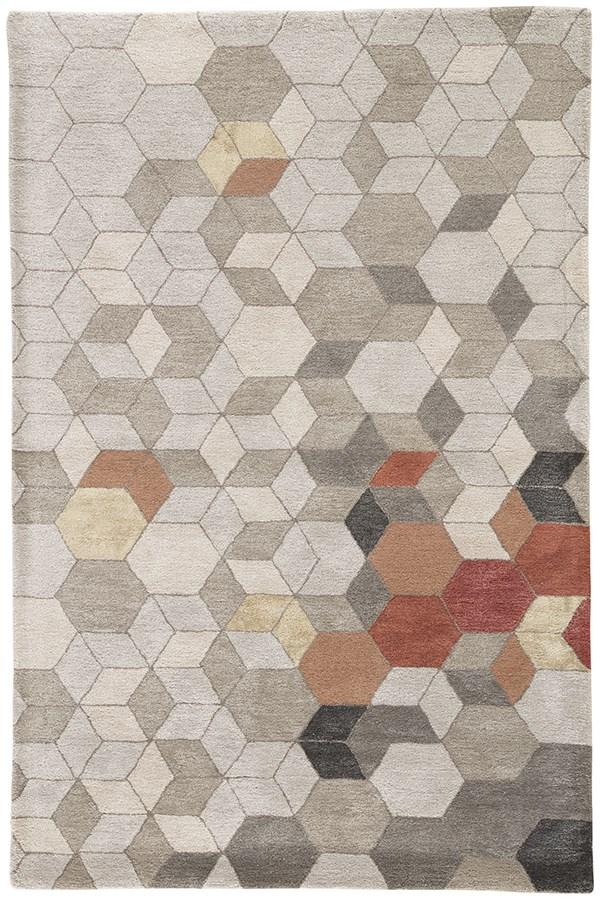 Light Gray, Orange (GES-03) Geometric Area Rug
