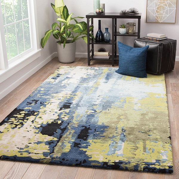 Blue, Green (GES-10) Abstract Area Rug