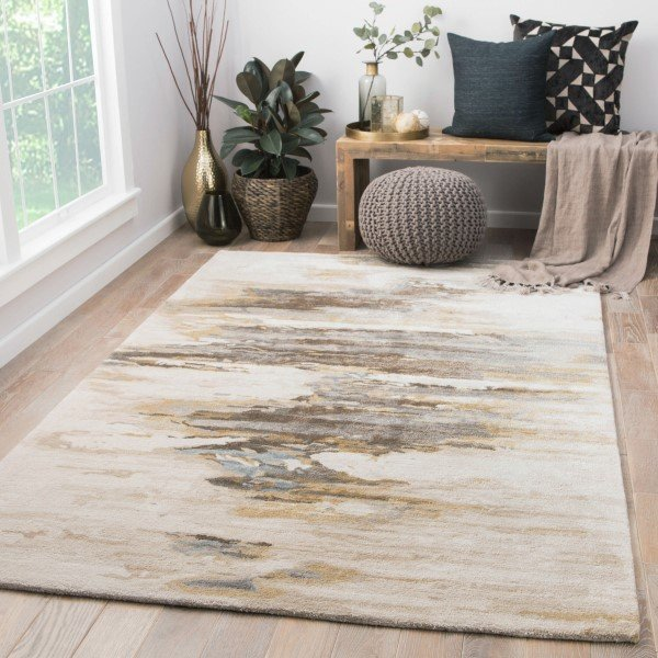 Cream, Gold (GES-07) Abstract Area Rug