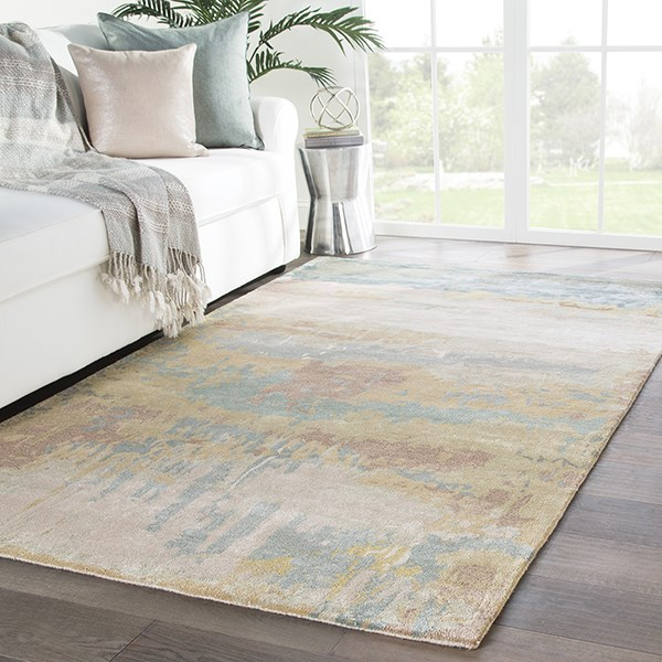 Gold, Light Blue (GES-28) Abstract Area Rug