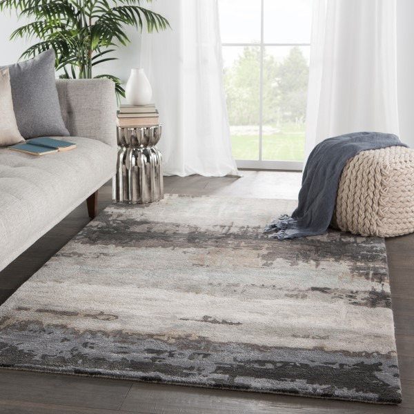 Black, Grey (GES-34) Abstract Area Rug