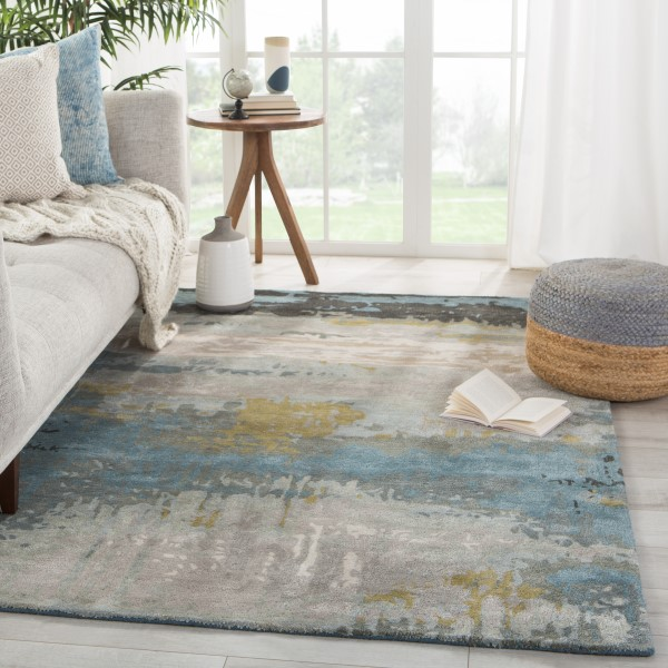 Black, Green (GES-41) Abstract Area Rug