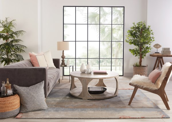 Grey, Blush (GES-35) Abstract Area Rug