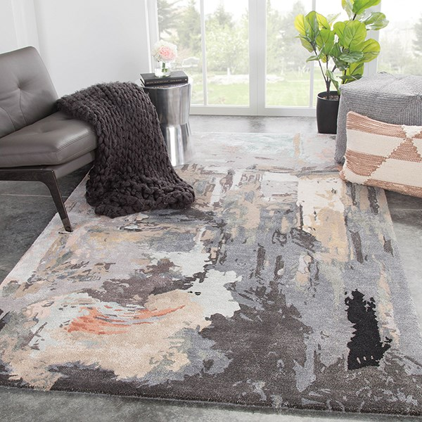 Gray, Blush (GES-25) Abstract Area Rug