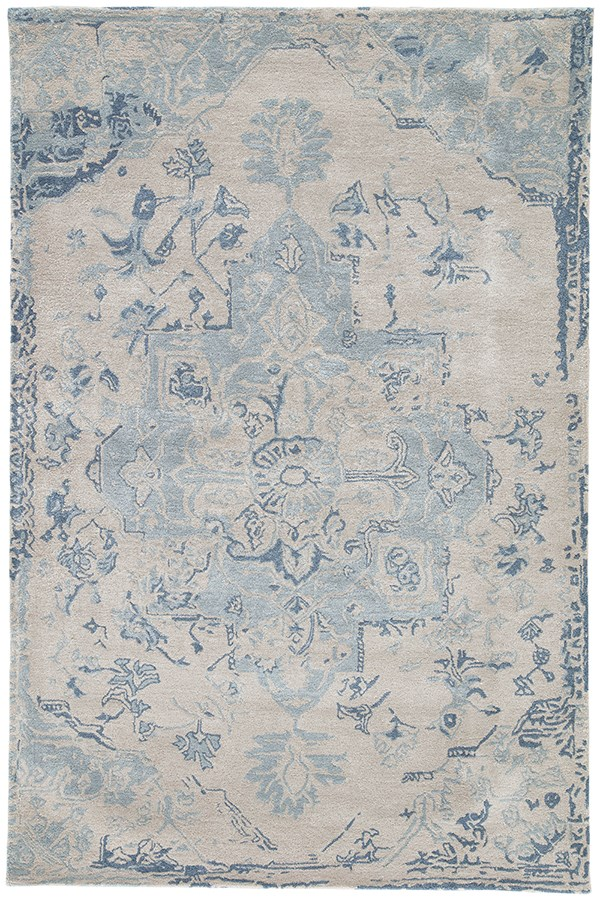 Beige, Dark Blue (CIT-03) Vintage / Overdyed Area Rug