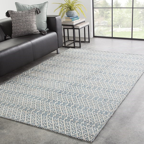 Blue, Beige (ENC-02) Geometric Area Rug
