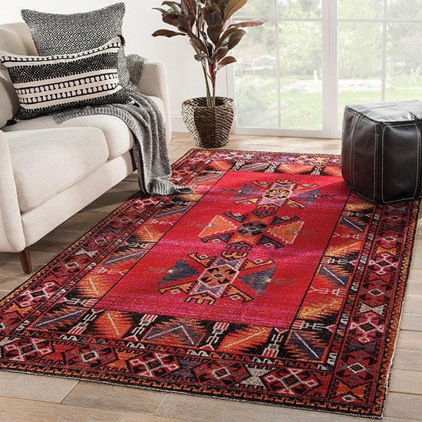 Red, Black (POL-19) Southwestern Area Rug
