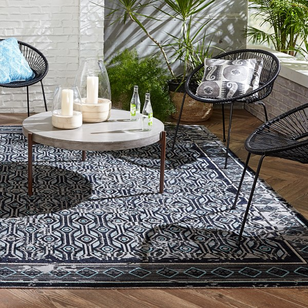 Gray, Blue (POL-03) Outdoor / Indoor Area Rug