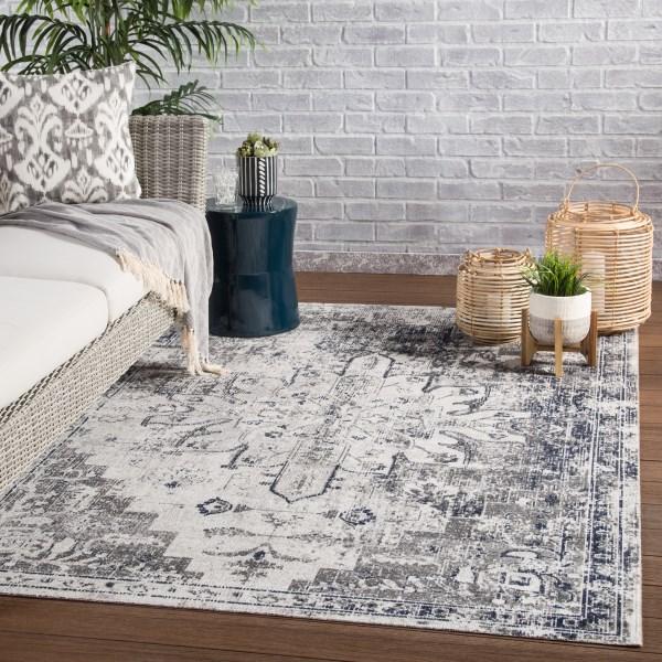 Gray, Ivory (POL-07) Outdoor / Indoor Area Rug