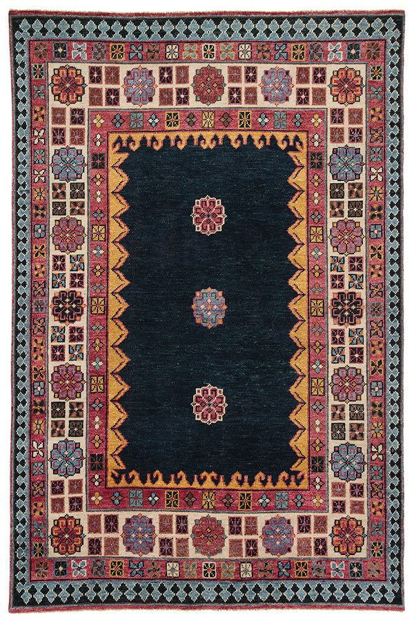 Dark Blue, Pink (SLN-01) Traditional / Oriental Area Rug
