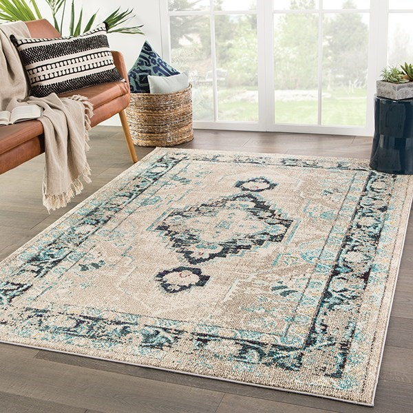 Taupe, Turquoise (AMZ-08) Traditional / Oriental Area Rug