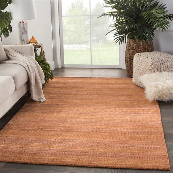 Orange, Brown (TEI06) Striped Area Rug