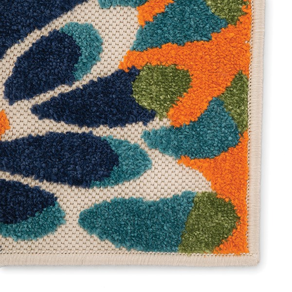 Navy, Orange, Beige (BLZ-03) Outdoor / Indoor Area Rug