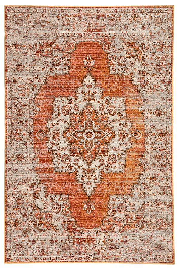 Orange, Brown (PRD-07) Traditional / Oriental Area Rug