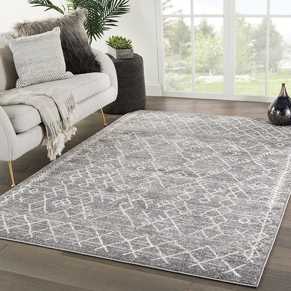 Grey, White (VAL-05) Moroccan Area Rug