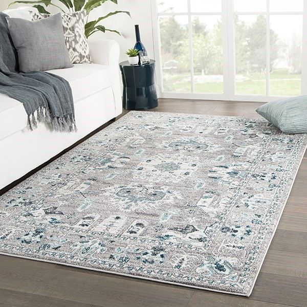 Light Grey, Turquoise (VAL-06) Traditional / Oriental Area Rug