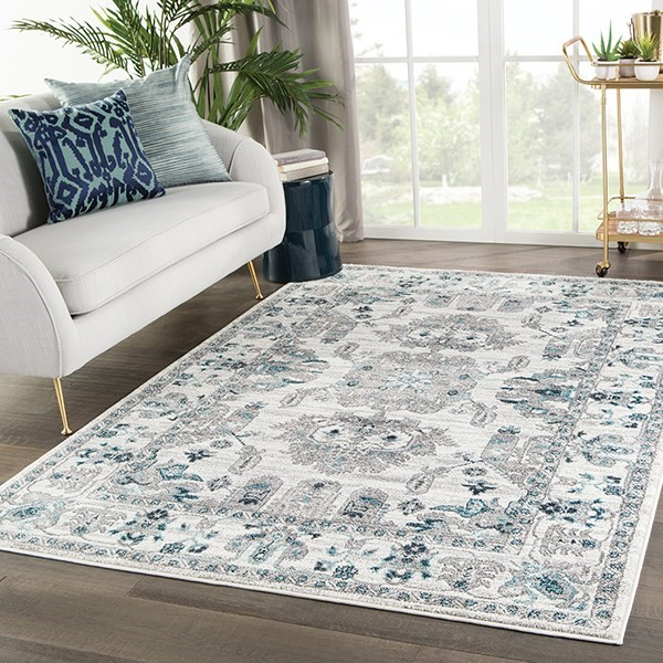 White, Light Grey (VAL-11) Traditional / Oriental Area Rug