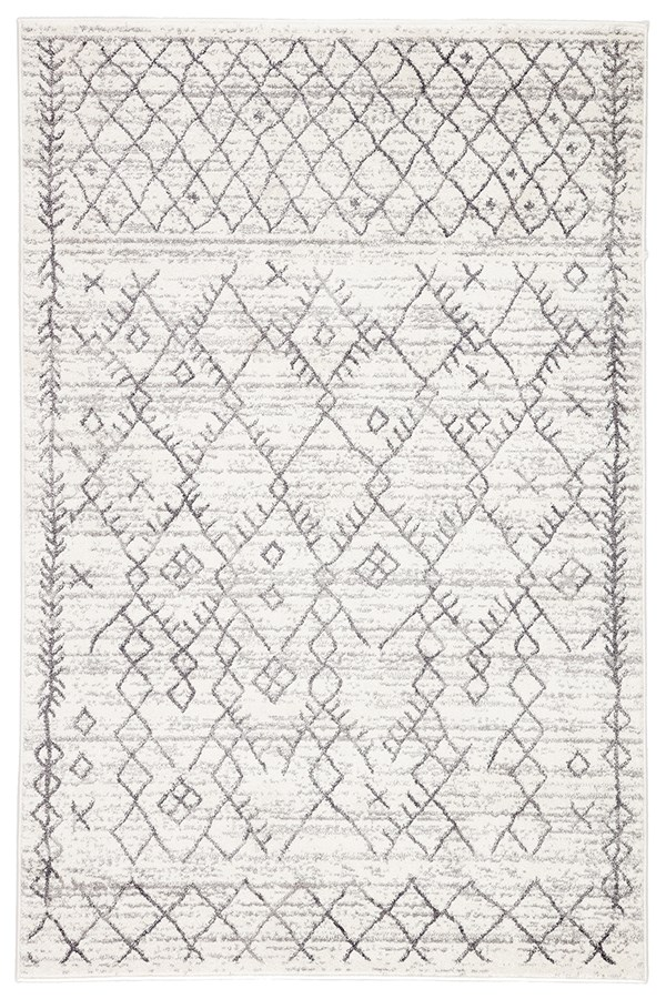 White, Light Grey (VAL-04) Moroccan Area Rug