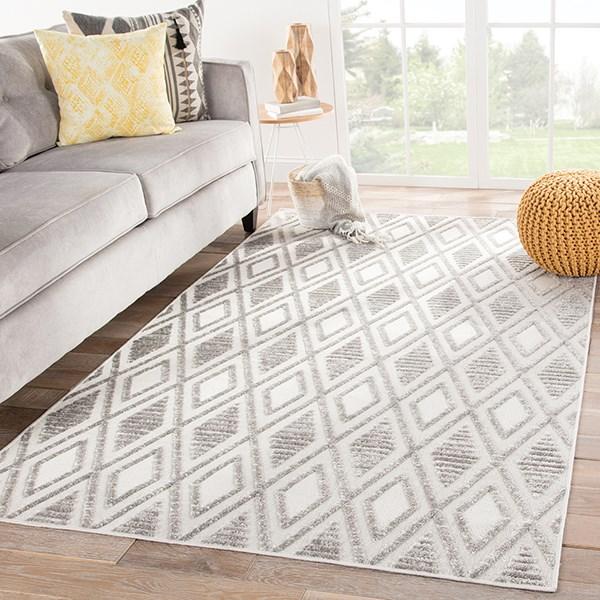 Grey, White (LUM-01) Outdoor / Indoor Area Rug