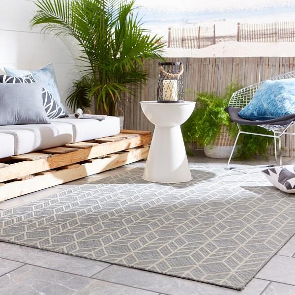 Grey, Cream (MOC-02) Outdoor / Indoor Area Rug