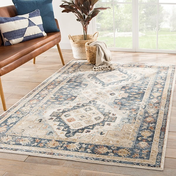 Beige, Blue (SAR-02) Traditional / Oriental Area Rug