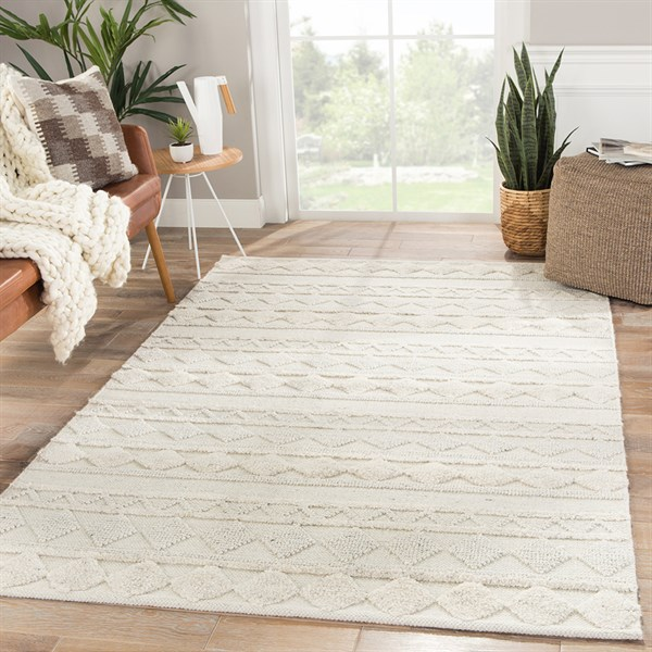 Ivory, Light Grey (MMN-01) Moroccan Area Rug