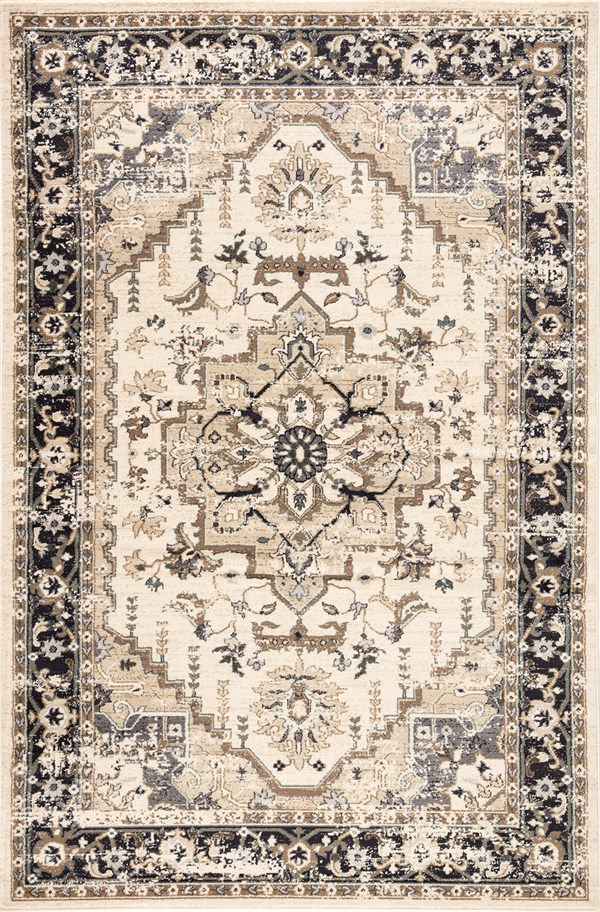 Beige, Black, Brown (ELY05) Traditional / Oriental Area Rug