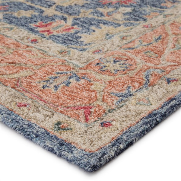 Blue, Beige, Orange (PRO03) Transitional Area Rug