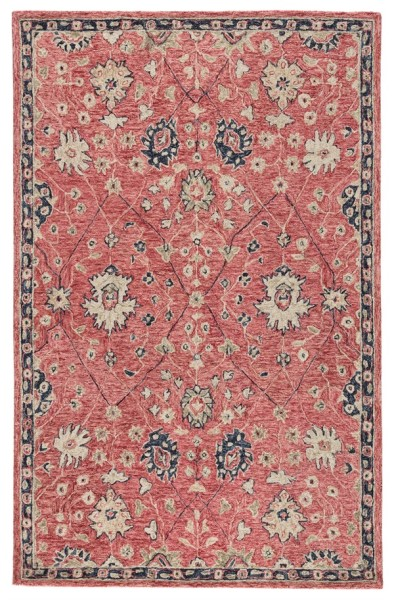 Red, Beige, Navy (PRO04) Traditional / Oriental Area Rug