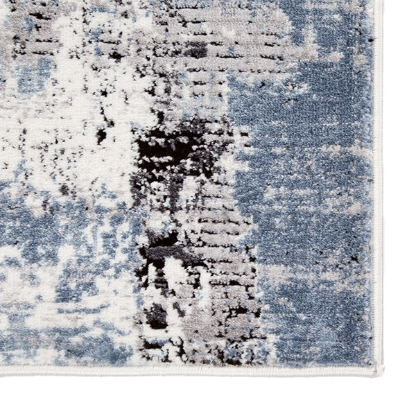 Blue, White, Black (SOL05) Abstract Area Rug