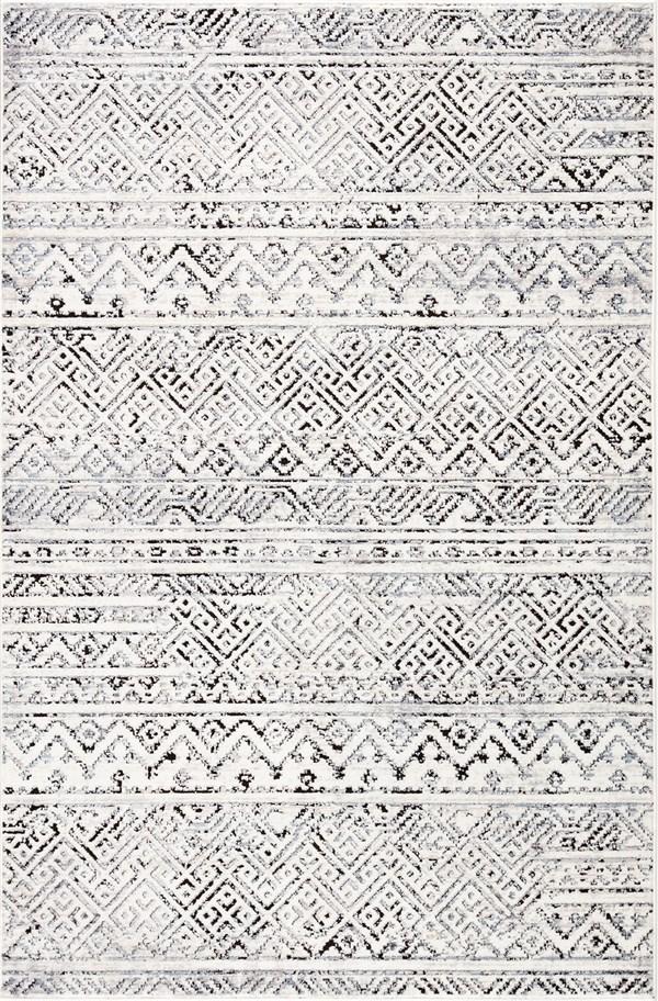 Ivory, Grey, Black (SOL04) Geometric Area Rug