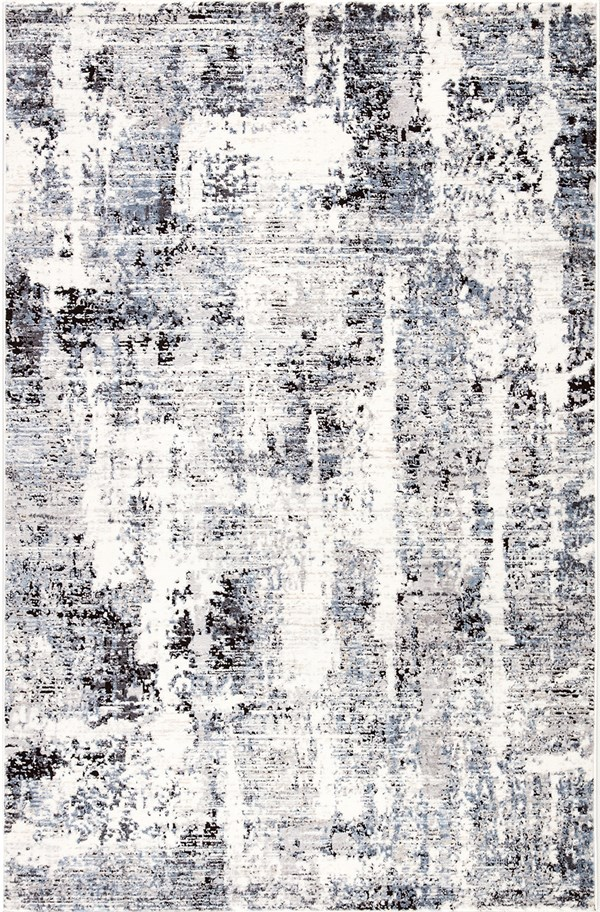 White, Grey, Blue (SOL06) Abstract Area Rug