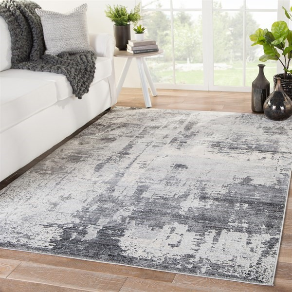 Grey, Ivory, Charcoal (VOR-01) Abstract Area Rug