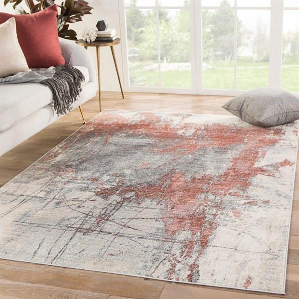 Red, Beige, Grey (VOR05) Abstract Area Rug