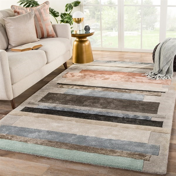 Grey, Pink (SYN03) Contemporary / Modern Area Rug