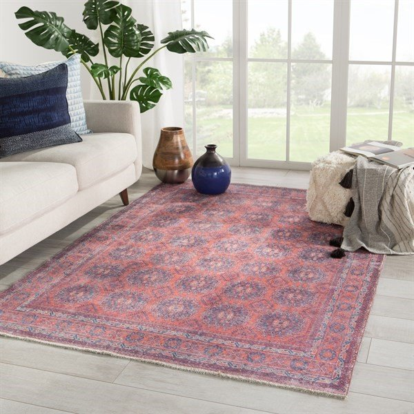 Blue, Red (BOH-05) Vintage / Overdyed Area Rug