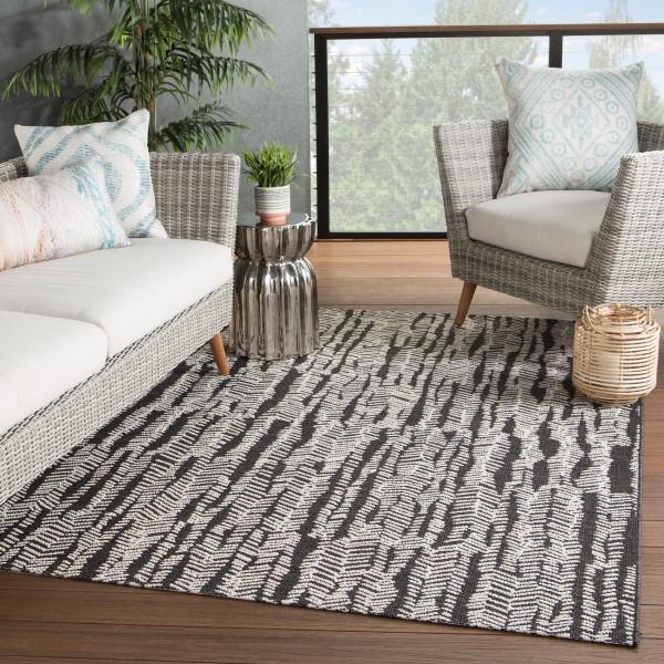 Black, Cream (FSN-05) Outdoor / Indoor Area Rug