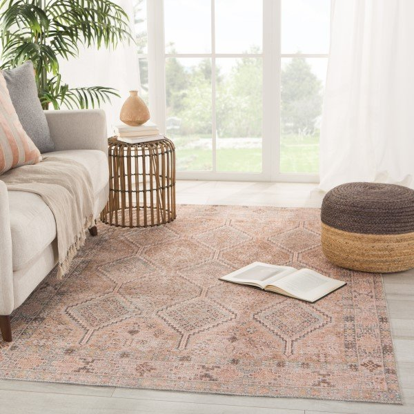Pink, Blue (KND-01) Bohemian Area Rug