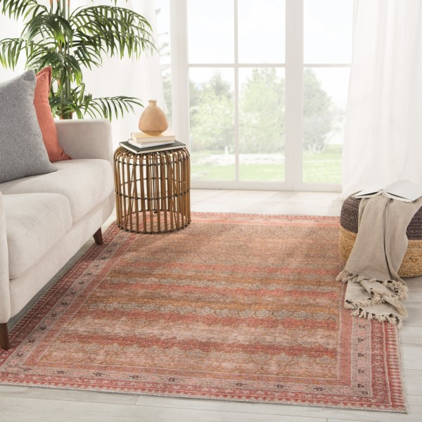 Pink, Taupe, Gold (KND-04) Bohemian Area Rug