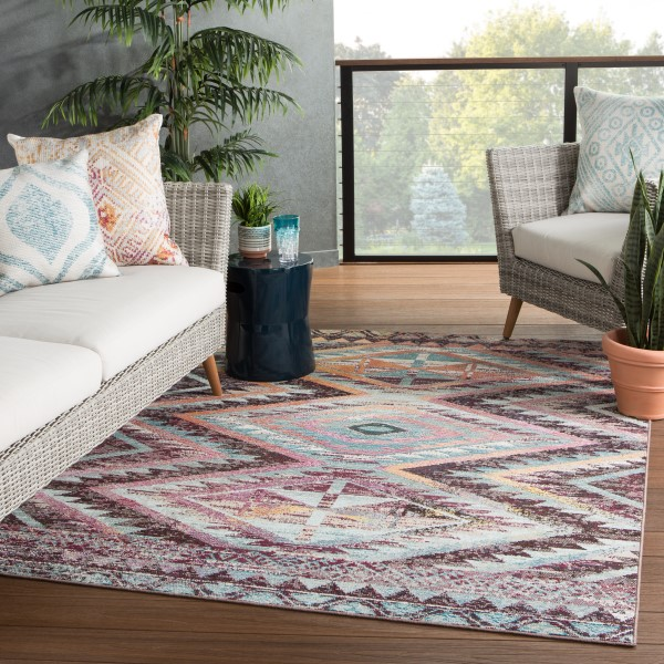 Brown, Aqua, Pink (RHN-11) Outdoor / Indoor Area Rug