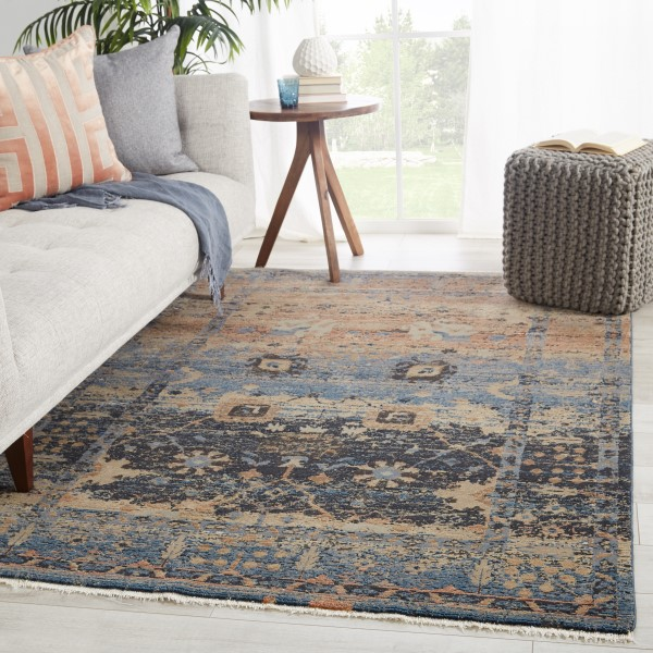 Blue, Taupe (MYD-01) Vintage / Overdyed Area Rug