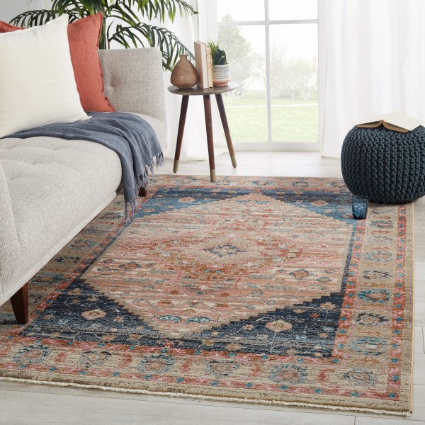 Dusty Pink, Dark Blue, Taupe (MYD-08) Vintage / Overdyed Area Rug