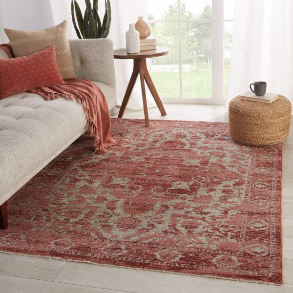 Red, Light Taupe (BNN-05) Vintage / Overdyed Area Rug