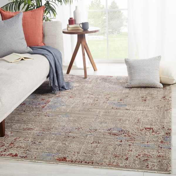 Grey, Red (BNN-04) Vintage / Overdyed Area Rug